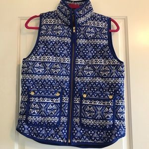 JCREW Blue and white excursion vest, small